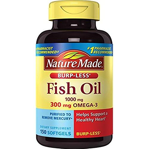 Nature Made Burp-less Fish Oil, 1000 Mg, 300 mg Omega-3, 150 Liquid Softgels